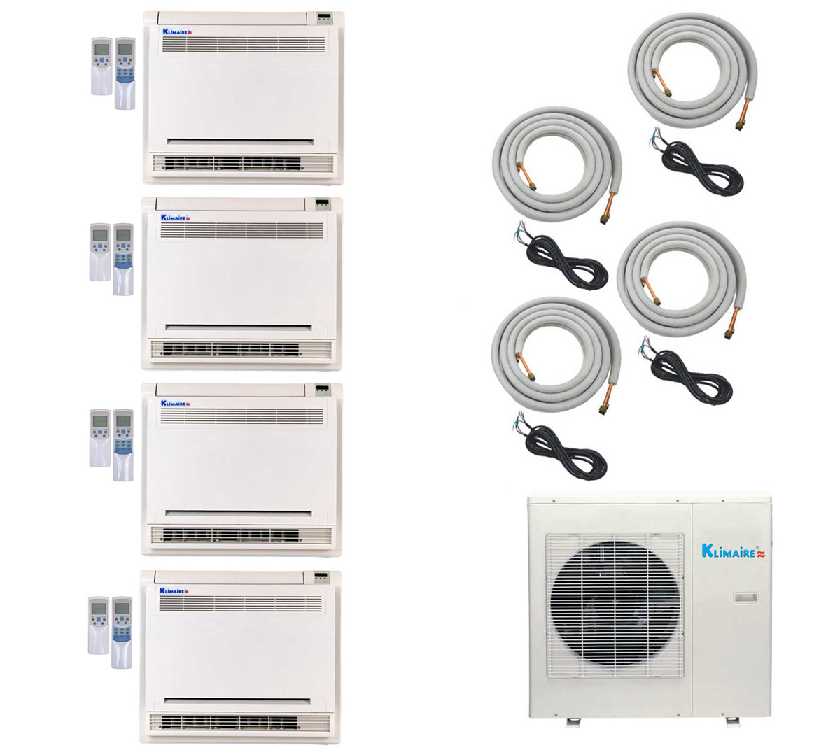 4-Zone Klimaire 16 SEER Multi-Zone Ductless Inverter Air Conditioner Heat Pump with 16 Ft Easy Connect Kits HCKPI1431
