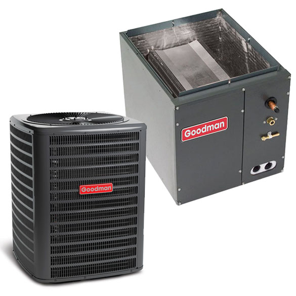 3.5 Ton Goodman 14 SEER Condenser GSX160421 and Cased Coil CAPF4961C6 Upflow/Downflow System with TXV HCGMC2361