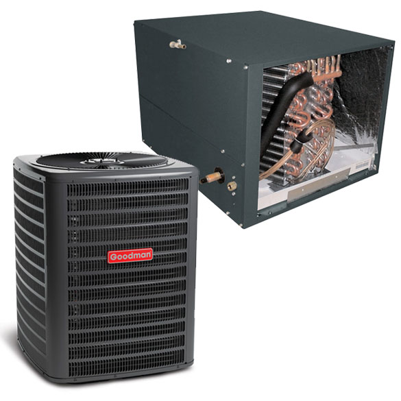 3.5 Ton Goodman 14 SEER Condenser GSX160421 and Cased Coil CHPF4860D6 Horizontal System with TXV HCGMC2362