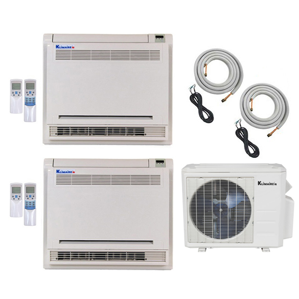 2-Zone Klimaire 17 SEER Ductless Multi-Zone Inverter Air Conditioner Heat Pump with 16 Ft Installation Kits HCKPI1642