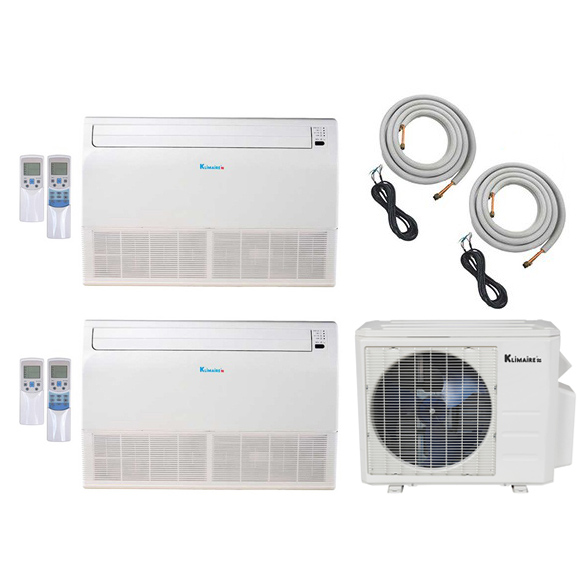 2-Zone Klimaire 18 SEER Ductless Multi-Zone Inverter Air Conditioner Heat Pump with 16 Ft Installation Kits HCKPI1640