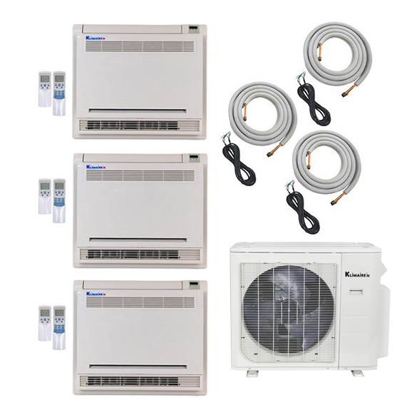 3-Zone Klimaire 22 SEER Ductless Multi-Zone Inverter Air Conditioner Heat Pump with 16 Ft Installation Kits HCKPI1650