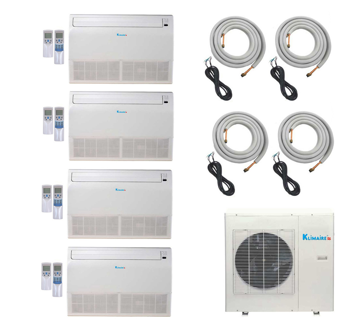 4-Zone Klimaire 16 SEER Ductless Multi-Zone Inverter Air Conditioner Heat Pump with 16 Ft Installation Kits HCKPI1430