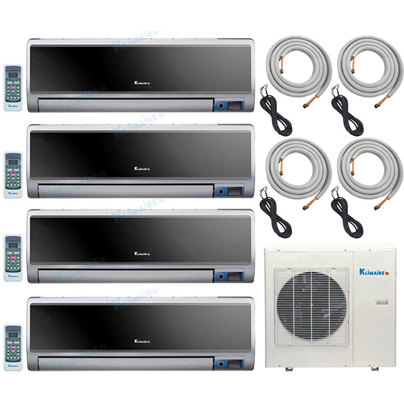 4-Zone Klimaire 16 SEER Multi-Zone Ductless Inverter Air Conditioner Heat Pump with 16 Ft Easy Connect Kits HCKPI1243