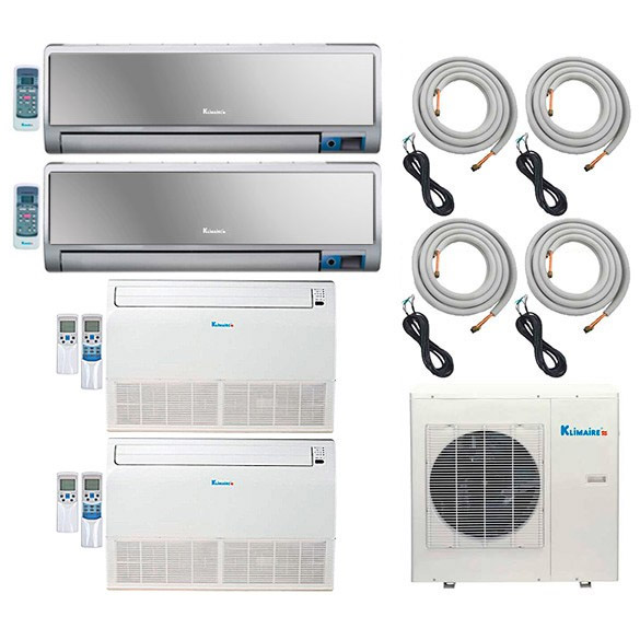 4-Zone Klimaire 16 SEER Ductless Multi-Zone Inverter Air Conditioner Heat Pump with 16 Ft Installation Kits HCKPI1552