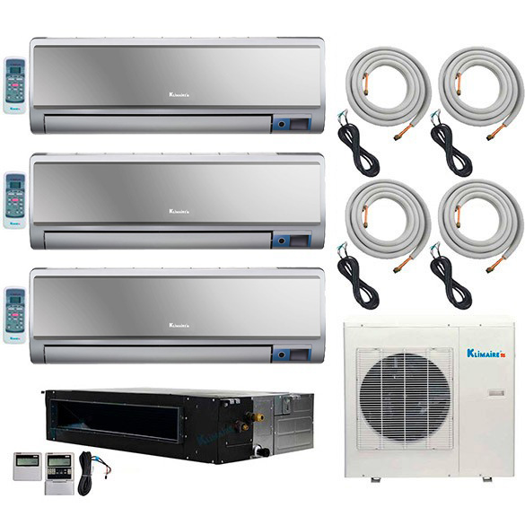 4-Zone Klimaire 16 SEER Ductless Multi-Zone Inverter Air Conditioner Heat Pump with 16 Ft Easy Connect Kits HCKPI1553
