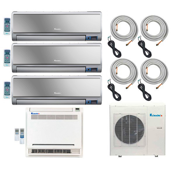 4-Zone Klimaire 16 SEER Ductless Multi-Split Inverter Air Conditioner Heat Pump with 16 Ft Installation Kits HCKPI1554