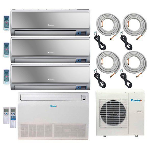 4-Zone Klimaire 16 SEER Multi-Split Ductless Inverter Air Conditioner Heat Pump with 16 Ft Installation Kits HCKPI1556
