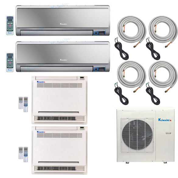4-Zone Klimaire 16 SEER Ductless Multi-Zone Inverter Air Conditioner Heat Pump with 16 Ft Installation Kits HCKPI1550