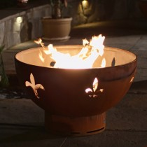 Fleur De Lis Outdoor Gas Fire Pit with Electronic Ignition